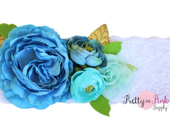 Blue Lace Headband Kit #440-Headband, Baby Shower, Shabby Flowers - Headband Kit- Girls Flower Crown