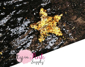 FULL YARD Black/Gold Two Sided Sequin Fabric -  Sequin Fabric - Fabric by the Yard - DIY Sequin- Reversible Sequin Fabric
