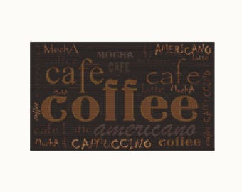 Cross Stitch Kit Coffee Menu, Cafe Cross Stitch, Embroidery Kit, Needlework DIY Kit (ART032)