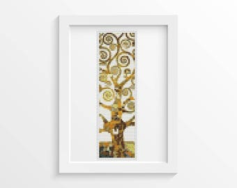 Tree of Life Bookmark Cross Stitch Pattern PDF, Tree Cross Stitch Chart, Art Cross Stitch, Gustav Klimt, Abstract Cross Stitch (BK39)