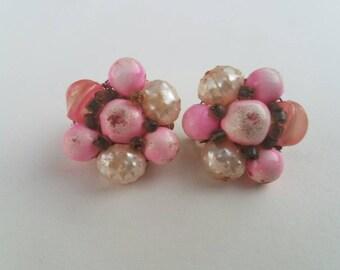Pink cluster earrings