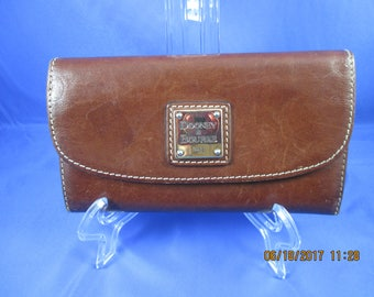 Dooney and Bourke Brown Tri-fold  Leather Wallet ~ used