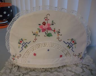 Tea Cosy made From Vintage Tablecloth Cottage Chic Tea Cozy
