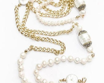 SALE Long Pearl and Chain Necklace