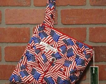 Knitting Bag, Crochet, Knit, Yarn, Wool, American Flag, Yarn Storage, Yarn Bag with Hole, Grommet, Handle, SYB111