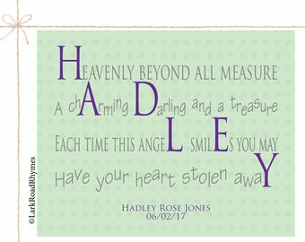 Nursery Decor Girl New Baby Girl Gift Nursery Rhyme Decor Baby Girl Wall Decor Name Wall Art Personalized Baby Girl Name Poem 8x10 Hadley