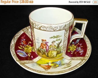 ON SALE 19th C Helena Wolfsohn Dresden Cup and Saucer, Courting Scenes, Porcelain, German, Ar