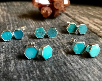 Silver Turquoise Stud Earrings Silver,Turquoise Earrings Silver,Hexagon Studs ,Turquoise Studs,Turquoise Post Earrings,Turquoise Jewelry