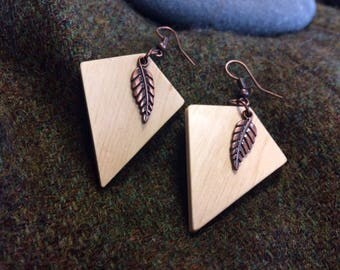 Irish Hazel Wood and Copper Earrings