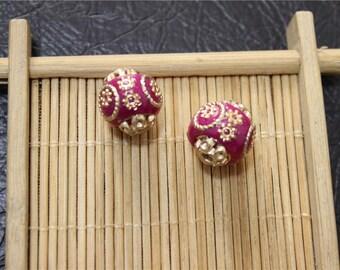 2 ethnic style hand made Indonesian beads round shape