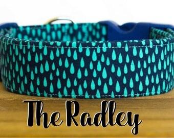 "Navy and Turquoise Unisex Geometric Shape Dog Collar ""The Radley"""