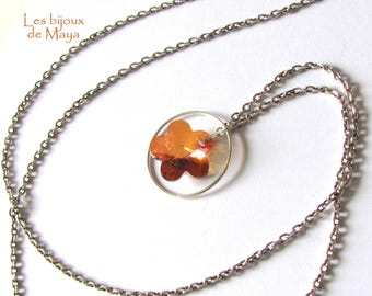 Necklace in 925 sterling silver, swarovski crystal 18 mm copper crystal flower