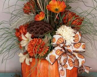 Fall Pumpkin Arrangement, Pumpkin Arrangement, Fall floral arrangements, Fall Pumpkin decor, Pumpkin decor, Fall decor, Thanksgiving decor