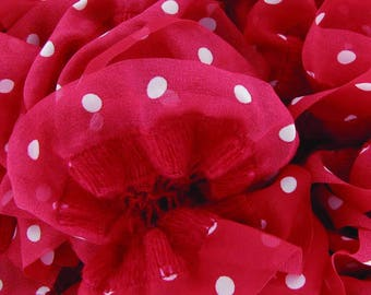 Red polka dots fabric ruffles scarf white - polyester-Microfiber 133 handmade collar
