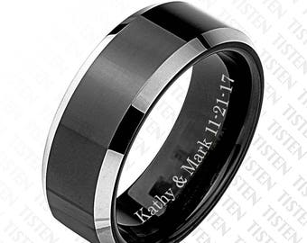 Men's Personalized Black Matte Couples Band, Tungsten Ring, Promise Ring, Couples Wedding Band, Anniversary Ring Engraved Free