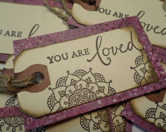 """12 GIFT TAGS-""""You are Loved"""" Gift Tags-Christmas Gift Tags-Holiday Gift Tags- (12) twelve tags (1.75""""x3"""")"""