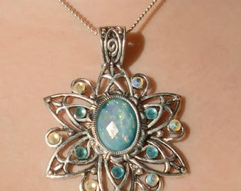Silver iridescent fairy stone pendant necklace