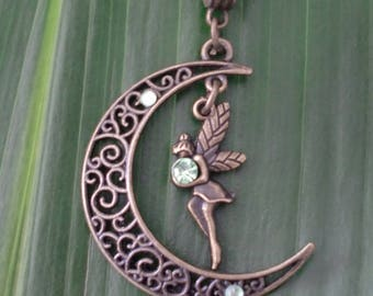 Magical Moon fairy green necklace