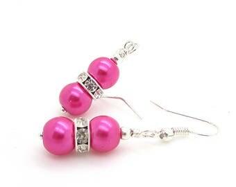 Hot Pink Bridesmaids Pearl Drop Earrings, Bright Pink Wedding Earrings, Fuchsia Bridal Jewellery, Simple Pearl Dangles, Bridal Party Gifts