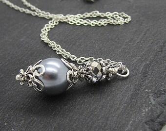 Dark Grey Pearl Drop Necklace, Pearl and Crystal Bridesmaid Jewellery, Mercury Wedding Sets, Grey Bridal Necklace, Matching Bridesmaid Sets
