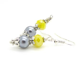 Yellow and Grey Pearl Drop Earrings, Bridesmaid Earrings, Bridal Jewellery Sets, Grey Yellow Wedding, Bridal Party Gifts, Crystal Dangles