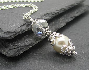 Beige Wedding Necklace, Beige Bridesmaid Jewellery, Pearl Bridesmaid Sets, Taupe Wedding Jewellery, Bridal Party Gifts, Pearl Drop Pendants