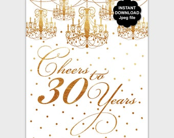 Gold Cheers to 30 Years Birthday Sign, Printable 30th Birthday Decorations, DIY 30 Year Old Birthday Poster, Thirty Sign, Digital File - PP8
