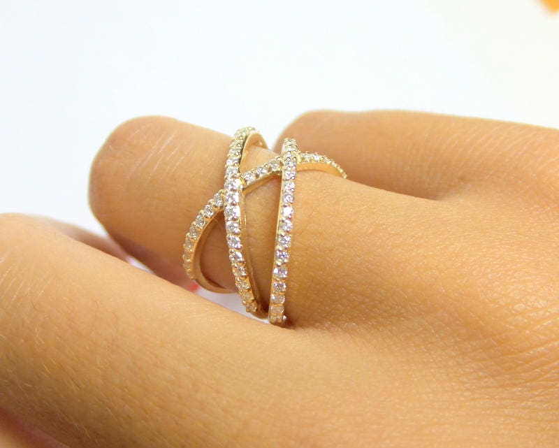 Gold X Ring Criss Cross Ring 14k Yellow Gold Double X Ring 14k