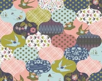 Baby Bedding Crib Bedding - Thumbelina, Bird, Pink, Green, patchwork quilt, - Baby Blanket, Crib Sheet, Crib Skirt, Changing Pad Cover