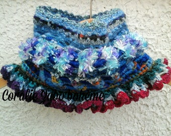 Snood en laine femme-snood au crochet-col en laine femme-col crochet-col bohème-coralie-zabo-boheme