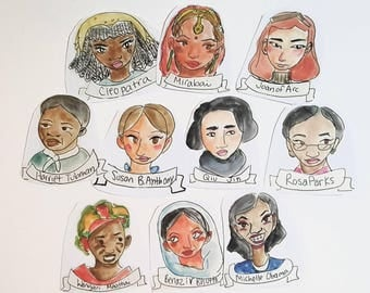 Women's History Sticker Pack, 10 total, matte stickers, planner stickers laptop stickers, feminism stickers, feminist stickers