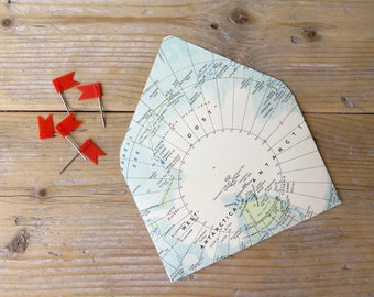 Upcycled Vintage world map envelopes