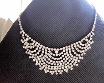 Vintage diamonte/rhinestone necklace- gorgeous vintage circa 60's necklace