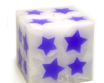 Cosmic Candles Purple Star Square Pillar Unscented 4x4