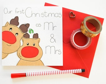Our first Christmas as Mr and Mrs Christmas card, Wife or husband Christmas card, Newlywed Christmas card, 1st Married Xmas Wedding