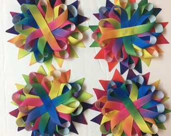 Rainbow Ribbon - unfinished hair bow