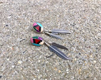 Native American sterling silver vintage southwestern multi-stone inlay feathers southwest boho post earrings