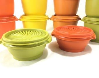 Vintage Tupperware #1323 1 Pint Storage Container & Lid * Kitchen Storage Container * Bright Orange * Pumpkin Orange * Yellow * Avocado Gree