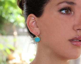 SUMMER SALE- Turquoise earrings,Turquoise Gold Earrings, simple everyday, ocean jewelry,  Gold post Summer Fashion.