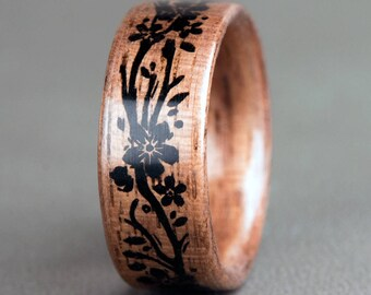 American Walnut with Engraved Floral Vine
