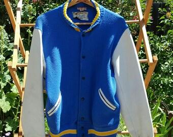 1940s Era Athletic Letterman's Jacket - Mens Size 44  - Blue/Gold Trim