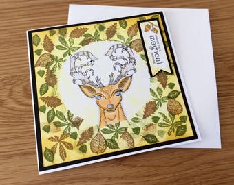Handmade birthday card featuring a stag