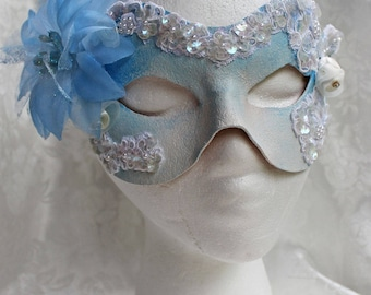 Women's White Blue Leather Mask, White and Light Blue Leather and Embroidered Lace Masquerade Mask, White Blue Leather Mask