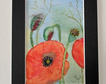 Poppies, original painting, watercolor on watercolor paper, including passepartout