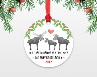 Moose New Parents Christmas Ornament Family Christmas Ornament Our First Christmas Baby Personalized Christmas Ornament Family of 3 Three