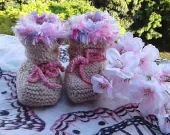 handmade beige 'boots' booties