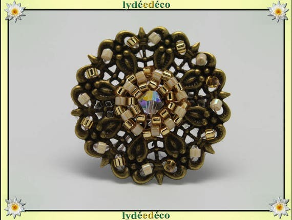 Japanese gold beige glass 25mm bronze beads charm retro vintage adjustable flower ring