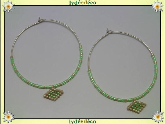 925 sterling silver hoop earrings round green beige Japanese beadwork bright 45mm diameter