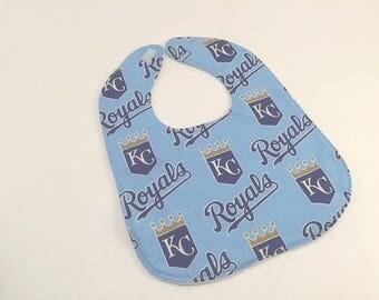 KC Royals, KC Royals Fabric, Royals Bib,  Kansas City Bib, Baby Bib, Pro Baseball, Logo wear, Baby Gift