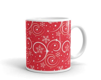 Red and White Christmas Swirls Snowflake Pattern Coffee Mug | christmas mugs, christmas pattern, mug, coffee mugs, holiday mug, christmas